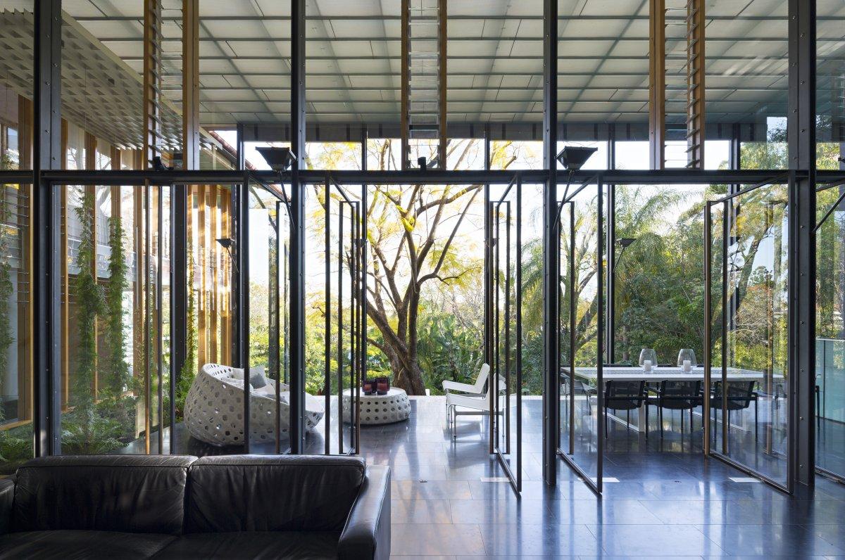 Patio Doors, Living Space, Taringa House in Brisbane, Australia