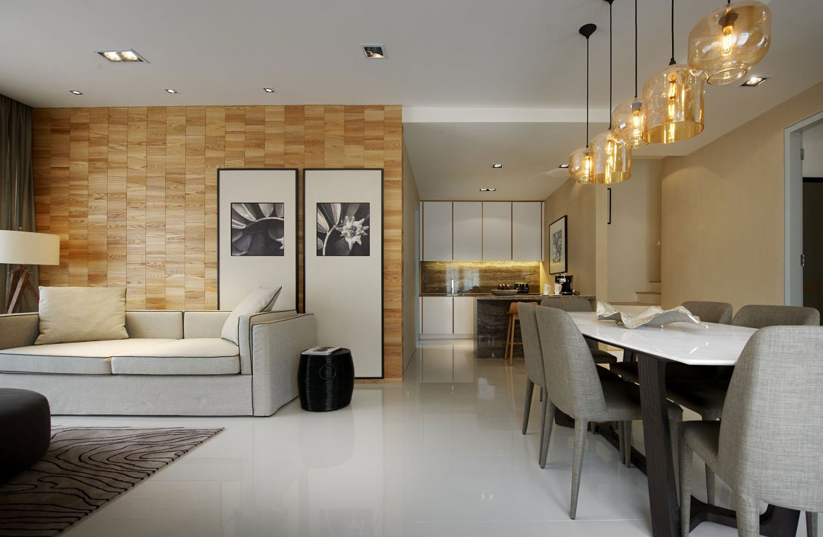Dining Table Lighting Modern Townhouse In Kuala Lumpur
