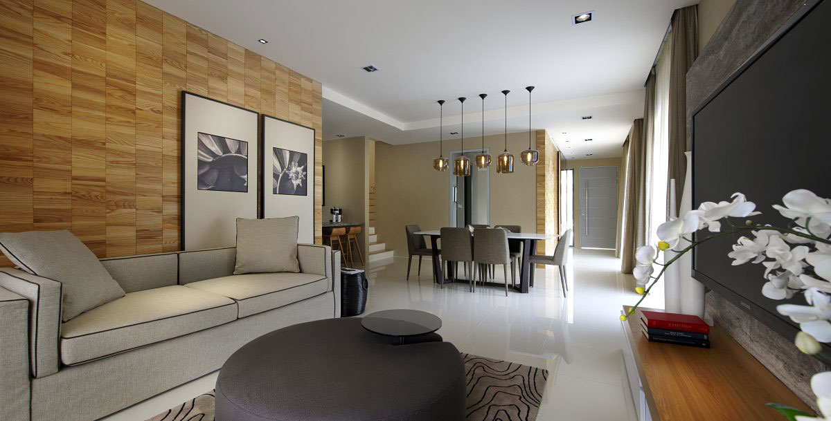 Living, Dining Space, Modern Townhouse in Kuala Lumpur, Malaysia