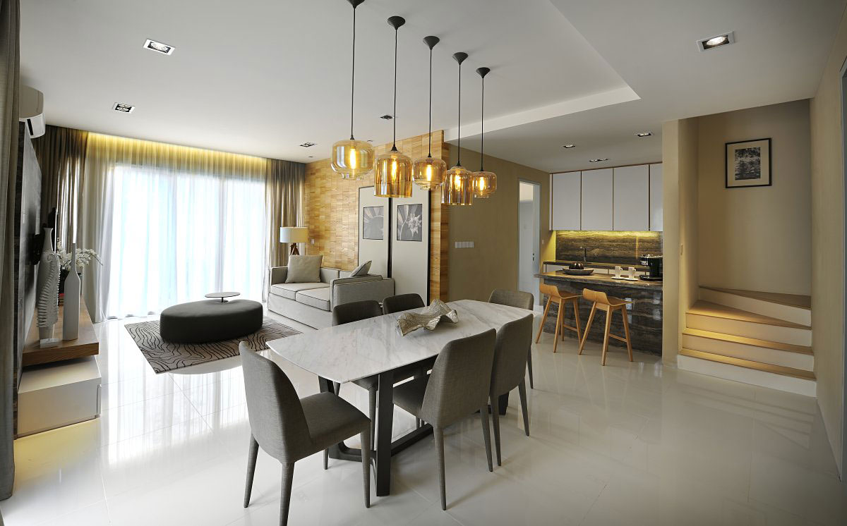 Stairs, Living, Kitchen & Dining Space, Modern Townhouse in Kuala Lumpur, Malaysia