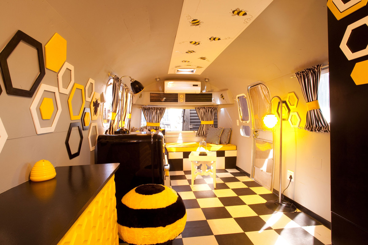 Bee Themed Living Room, Old Mac Daddy, Luxury Trailer Park in South Africa