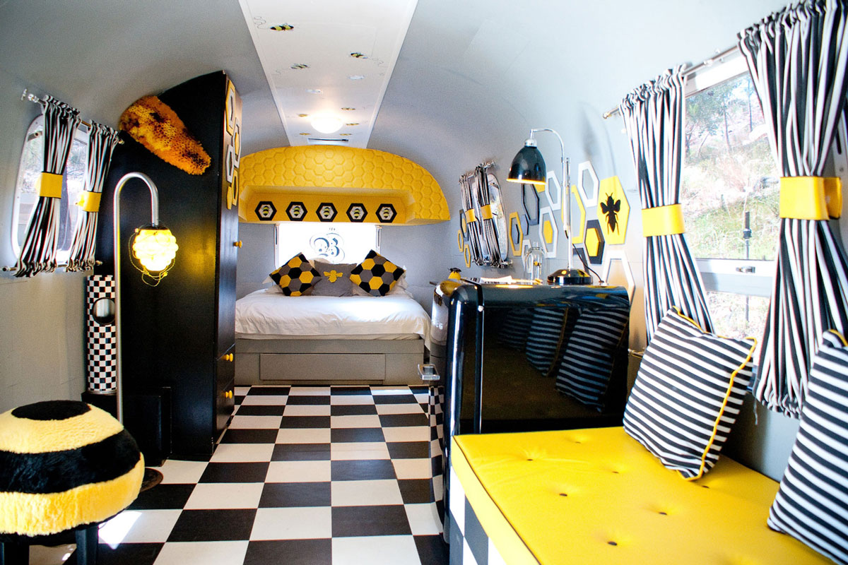 Bee themed bedroom trailer old mac daddy luxury trailer for Funky home decor south africa