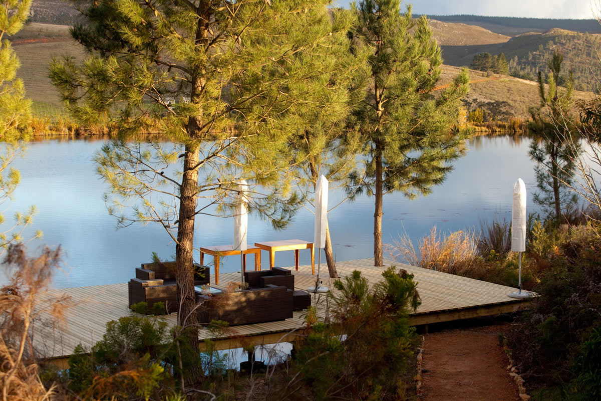 Wooden Deck, Lake View, Old Mac Daddy, Luxury Trailer Park in South Africa