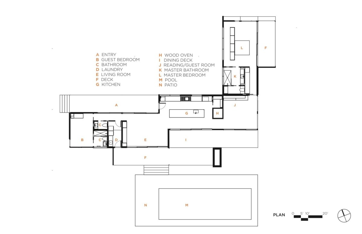 Floor Plan, Vacation Home in Mendocino County, California