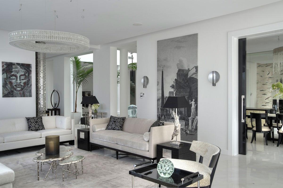 Black & White Living Room, The Reserve, Luxury Villas in Al Barari, Dubai