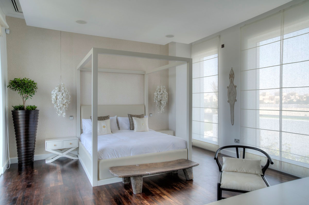 Dark Wood Flooring, Bedroom, The Reserve, Luxury Villas in Al Barari, Dubai