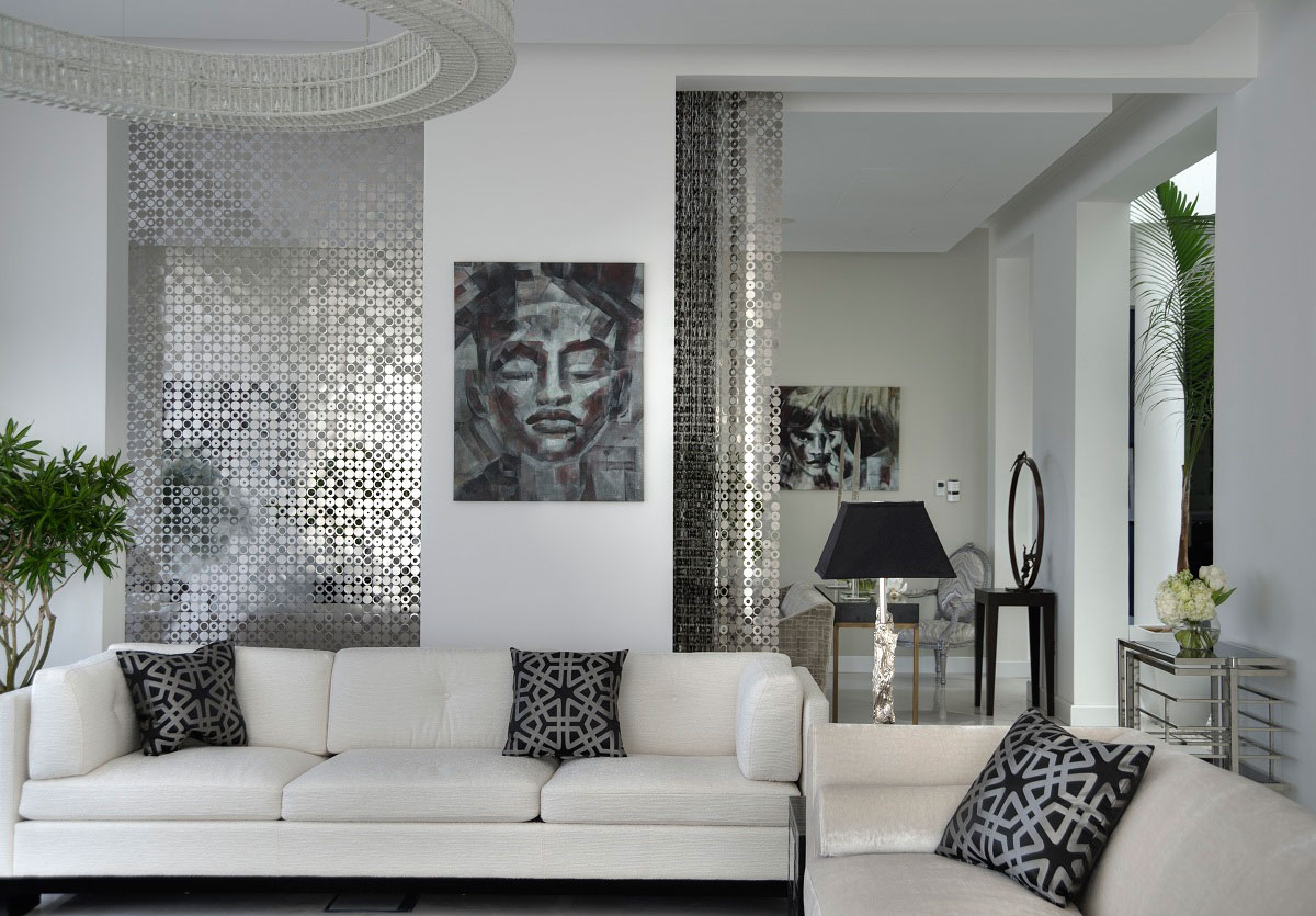 White Sofas, Lighting, Art, The Reserve, Luxury Villas in Al Barari, Dubai