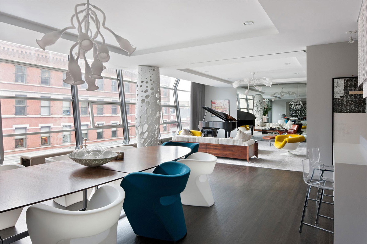 Dining Table, Lighting, Stylish Apartment in New York City