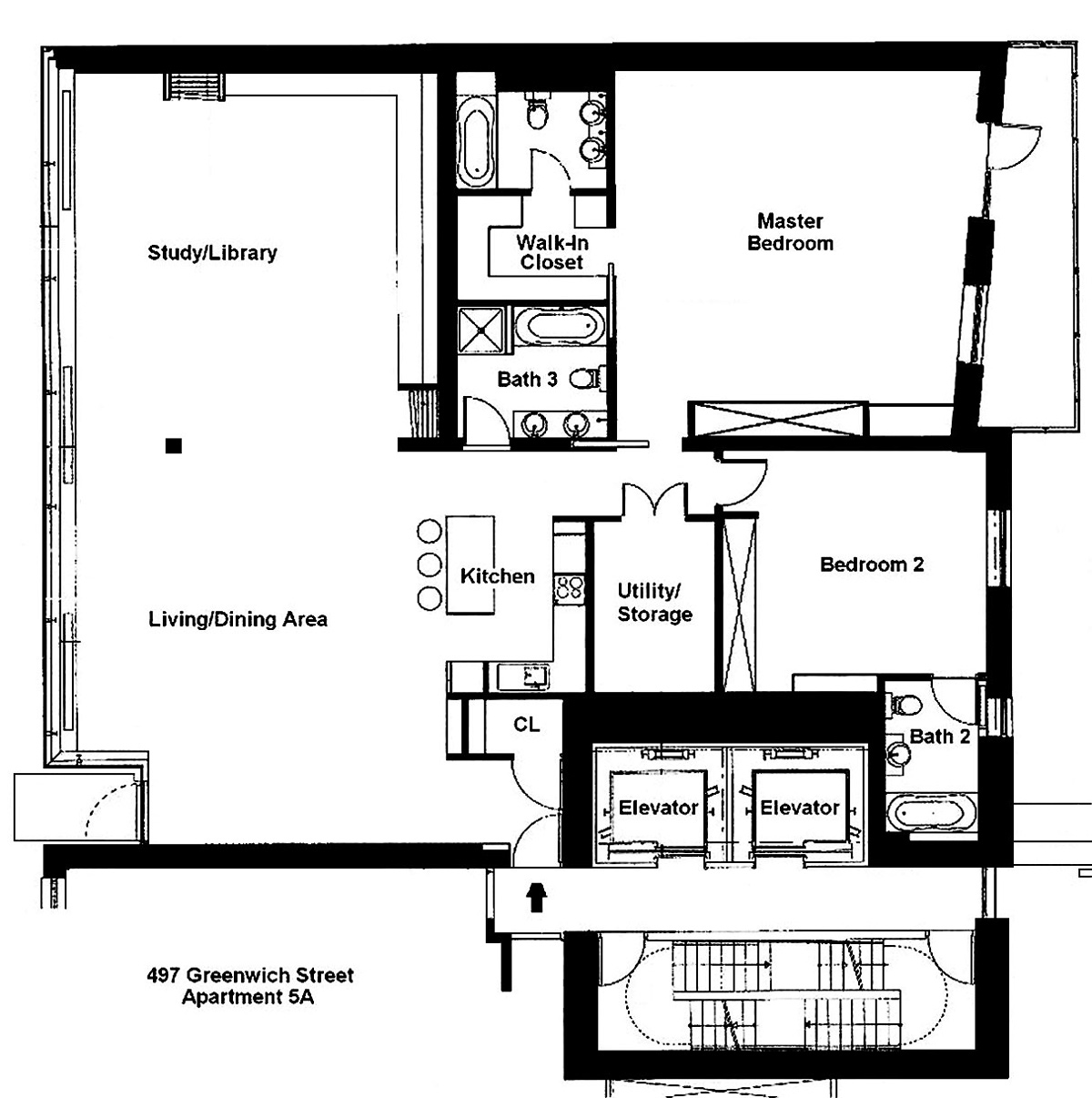 Floor Plan, Stylish Apartment in New York City