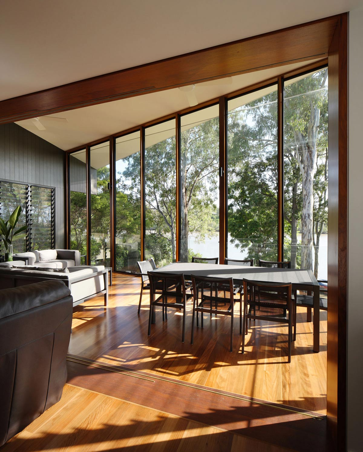 Balcony, Dining Table, Glass Walls, Renovation and Extension in Chelmer, Brisbane