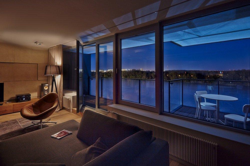 Balcony, Patio Doors, Riverside Apartment in Bratislava, Slovakia