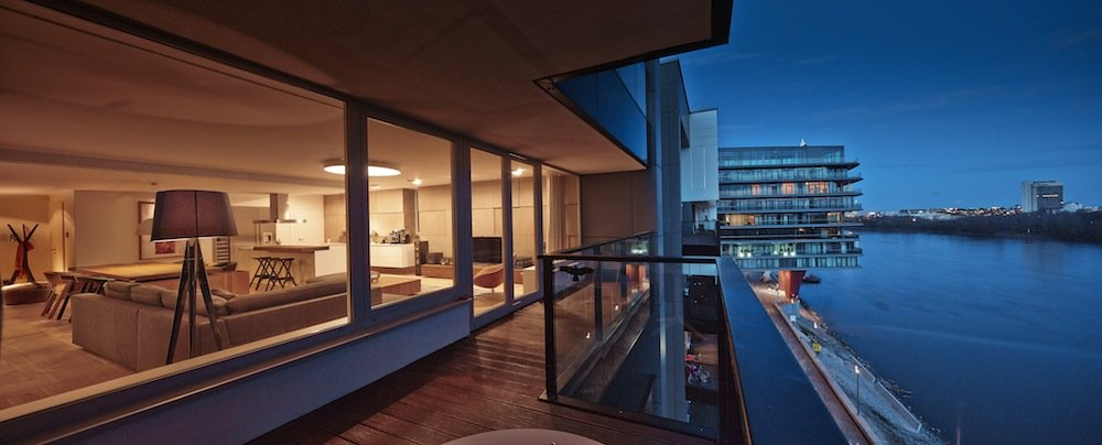 Balcony, River Danube View, Riverside Apartment in Bratislava, Slovakia