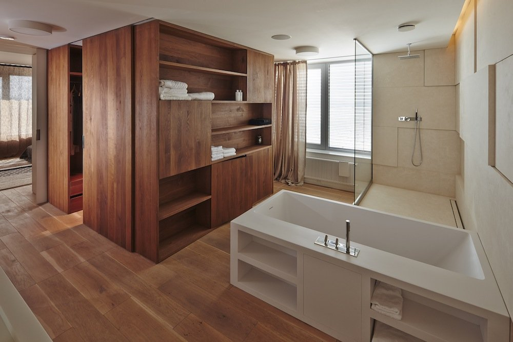 Bathroom, Shower, Riverside Apartment in Bratislava, Slovakia