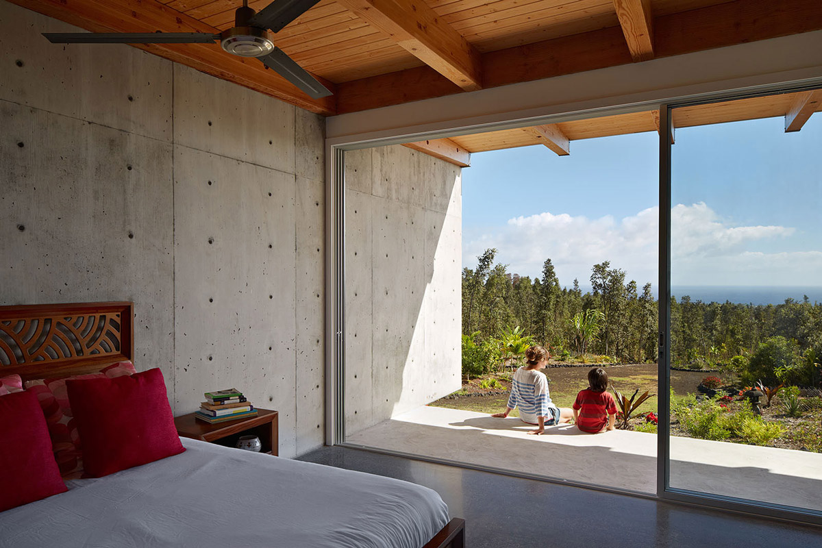 Bedroom, Concrete Walls, Patio Door, Contemporary Home in Pahoa, Hawaii