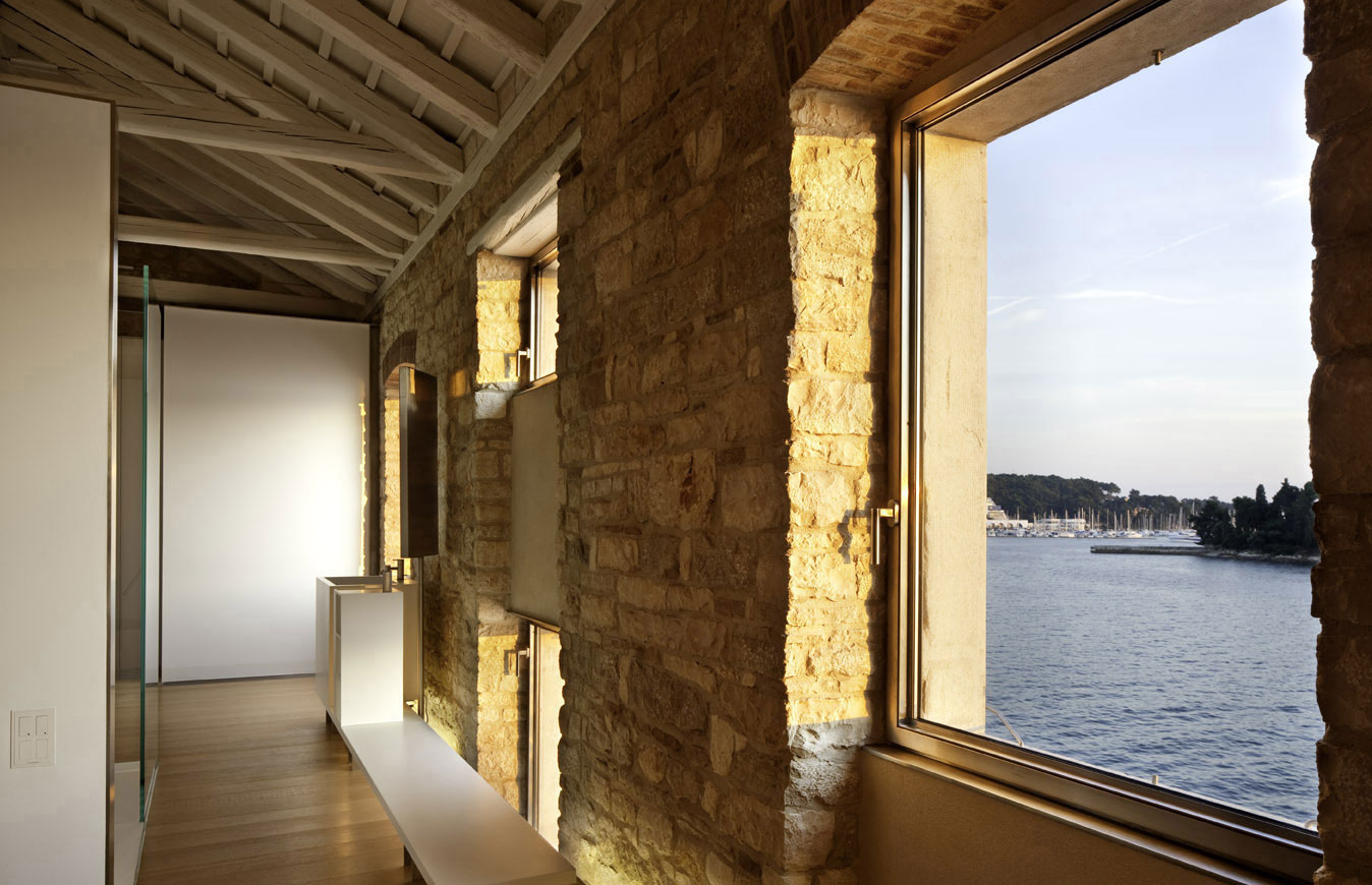 Sea Views from the Bedroom, Stone Walls, Renovation of an 18th Century Building in Rovinj, Croatia