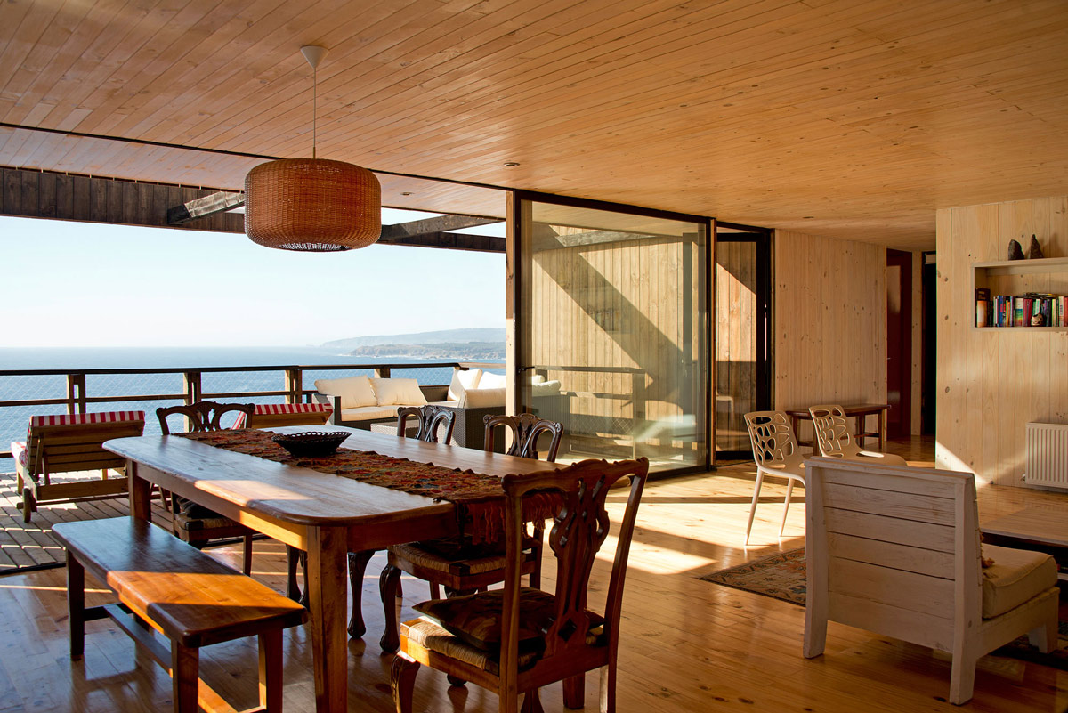Patio Doors, Balcony, Sea Views, Clifftop Home with Panoramic Ocean Views in Tunquén, Chile