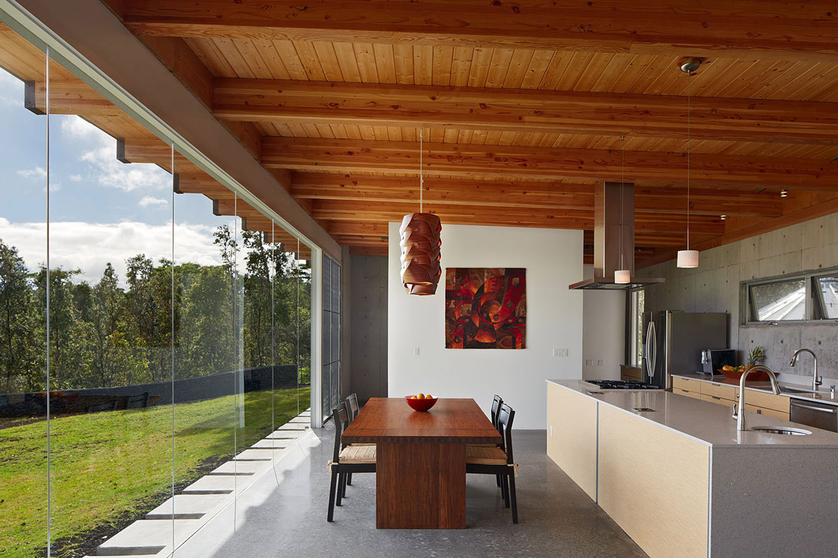 Kitchen Island As Dining Table dining table, kitchen island, contemporary home in pahoa, hawaii