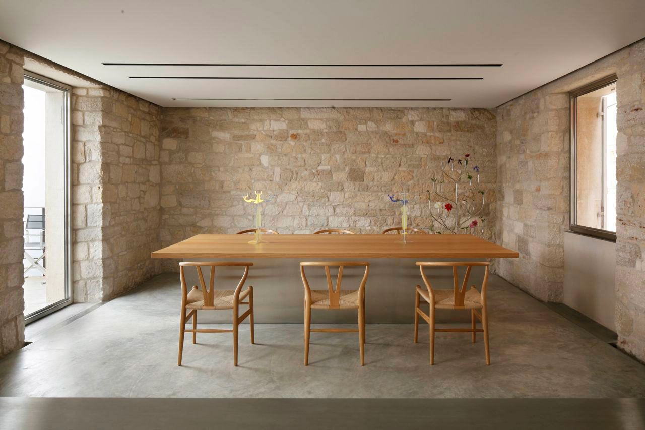 Dining Table, Stone Walls, Renovation of an 18th Century Building in Rovinj, Croatia
