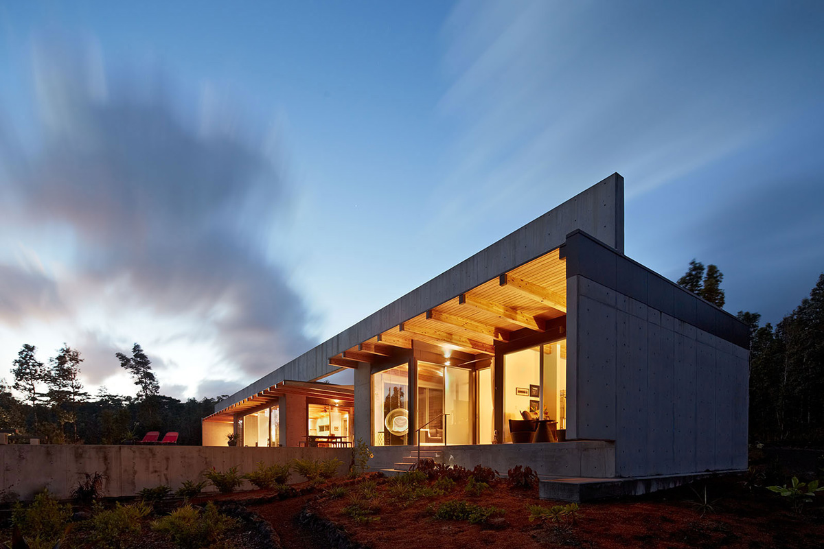 Evening, Lighting, Contemporary Home in Pahoa, Hawaii