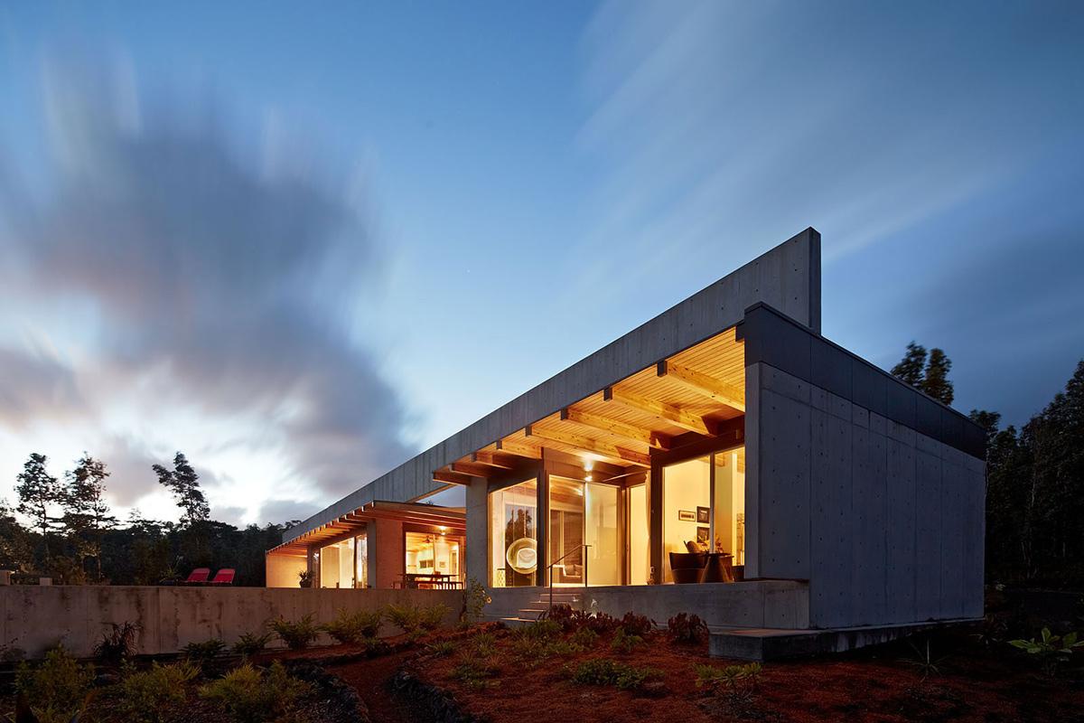 Concrete and Glass House in Pahoa, Hawaii