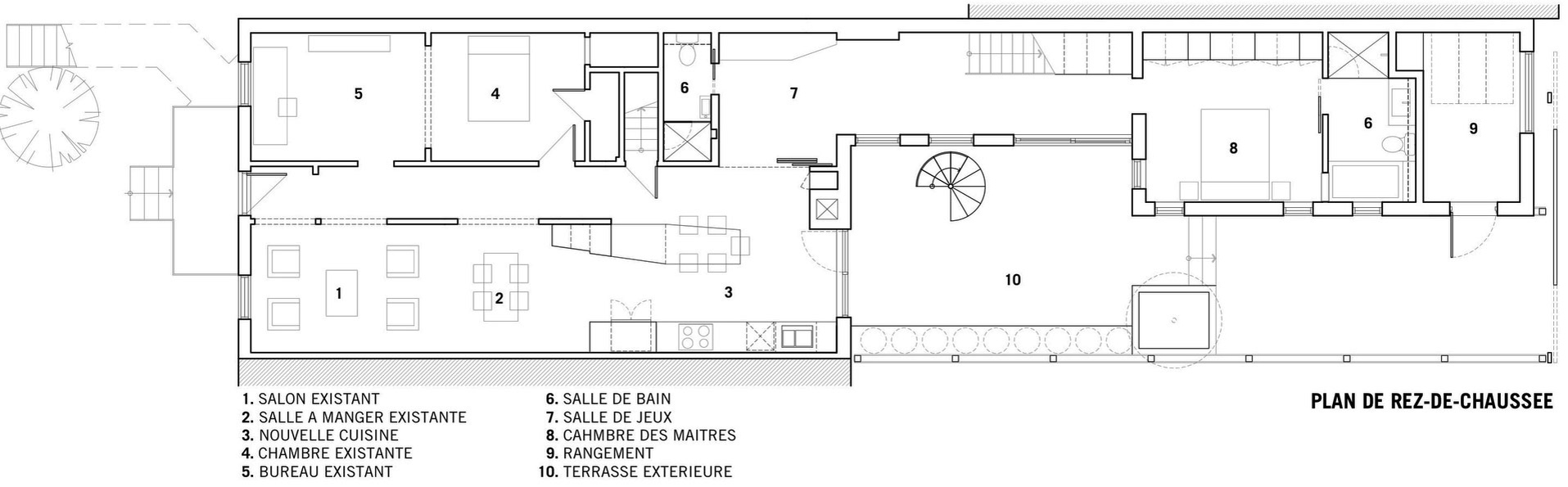 Ground Floor Plan, Contemporary Extension in Rosemont-Petite-Patrie, Canada