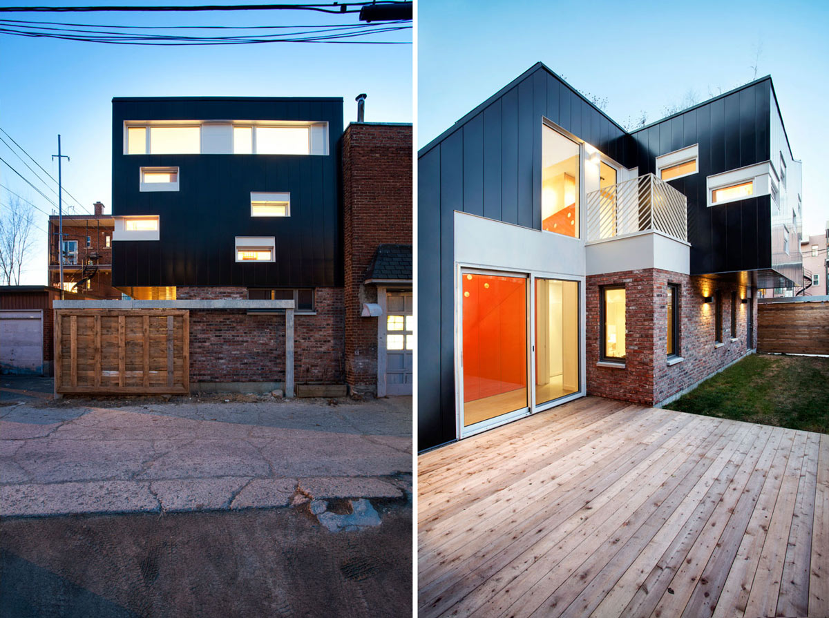 Wooden Deck, Terrace, Contemporary Extension in Rosemont-Petite-Patrie, Canada