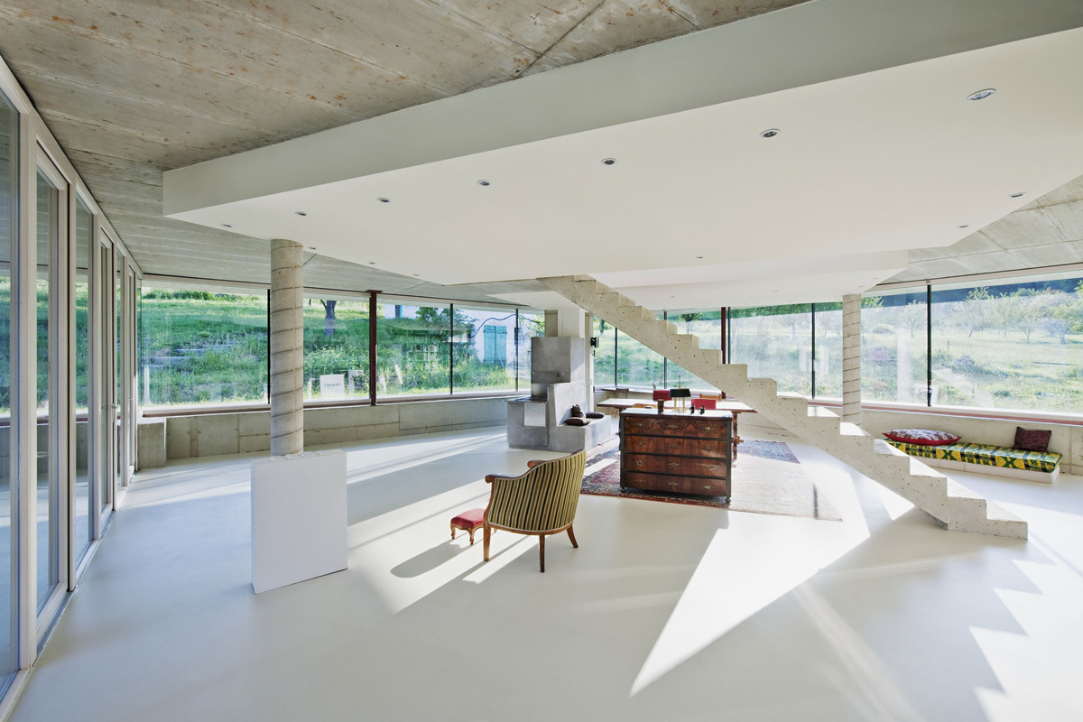 Concrete Staircase, Old Farm House Renovation and Expansion in Burgenland, Austria