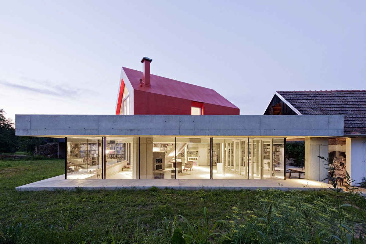 Dusk Lighting, Old Farm House Renovation and Expansion in Burgenland, Austria