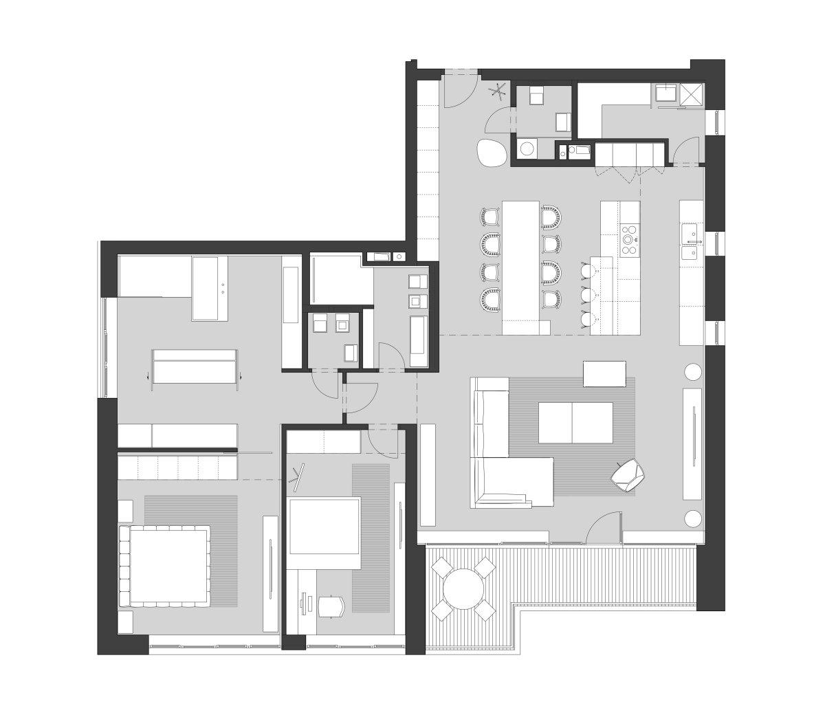 Floor Plan, Riverside Apartment in Bratislava, Slovakia