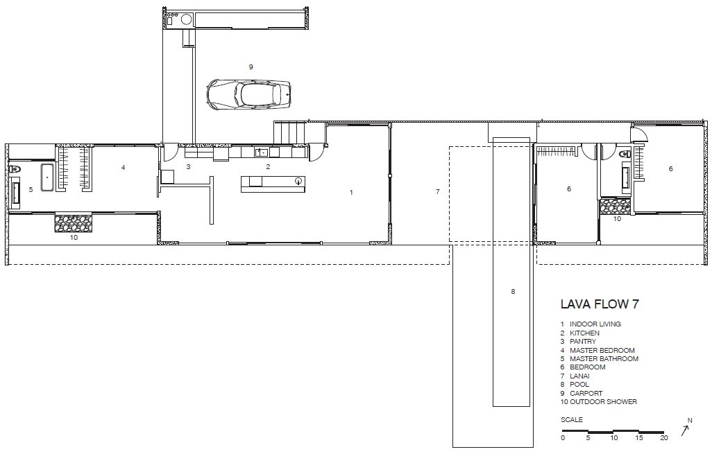Floor Plan, Contemporary Home in Pahoa, Hawaii