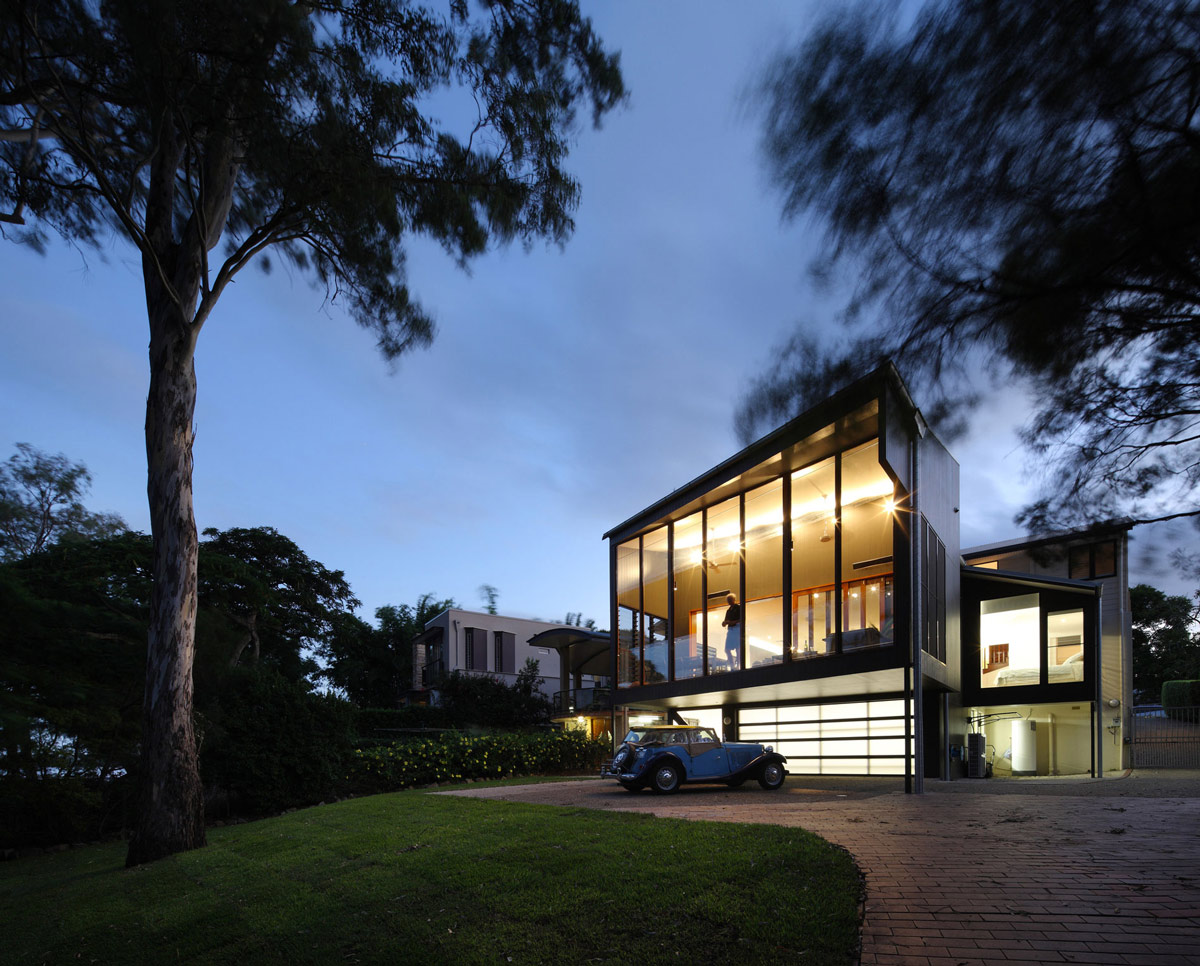 Garage, Driveway, Evening Lighting, Renovation and Extension in Chelmer, Brisbane