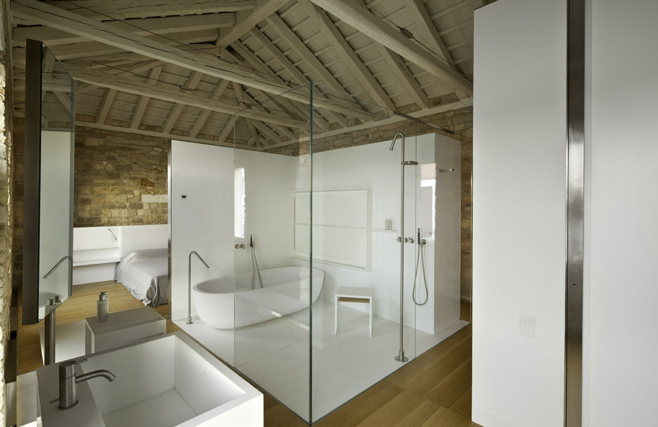 Bath & Shower Room, Glass Walls, Renovation of an 18th Century Building in Rovinj, Croatia