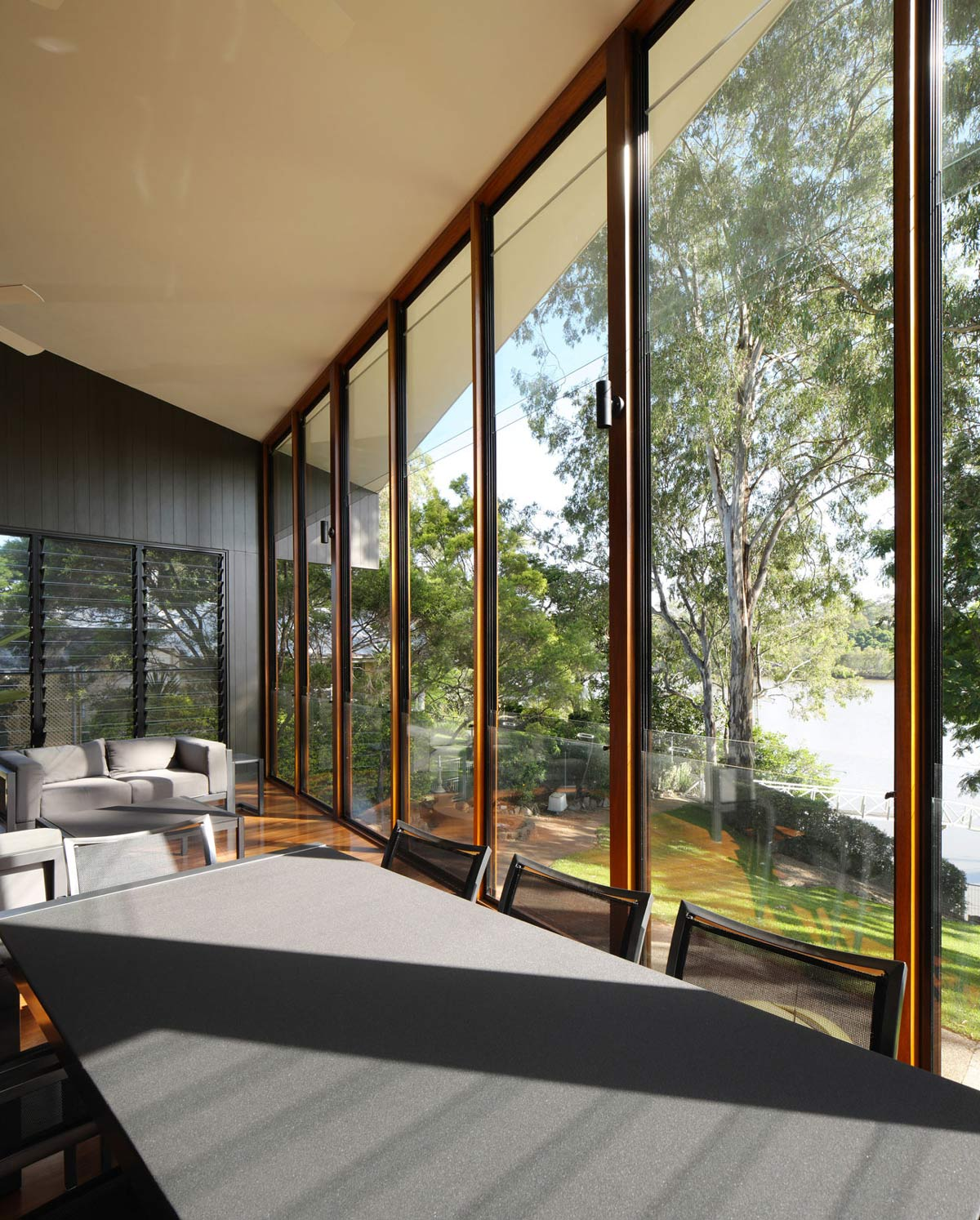 Dining Table, Glass Walls, Renovation and Extension in Chelmer, Brisbane