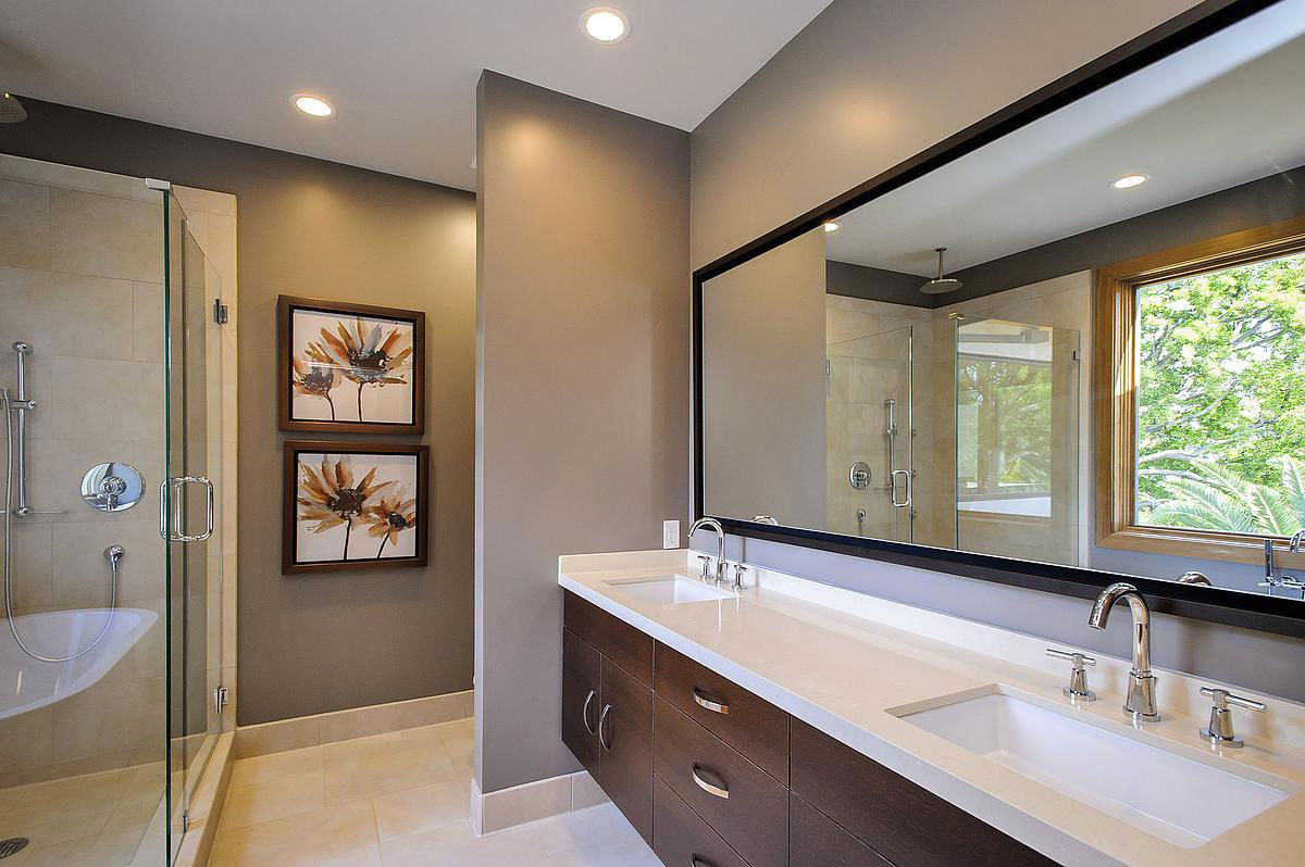 Double Sinks, Bathroom, Modern Home in Burlingame, California