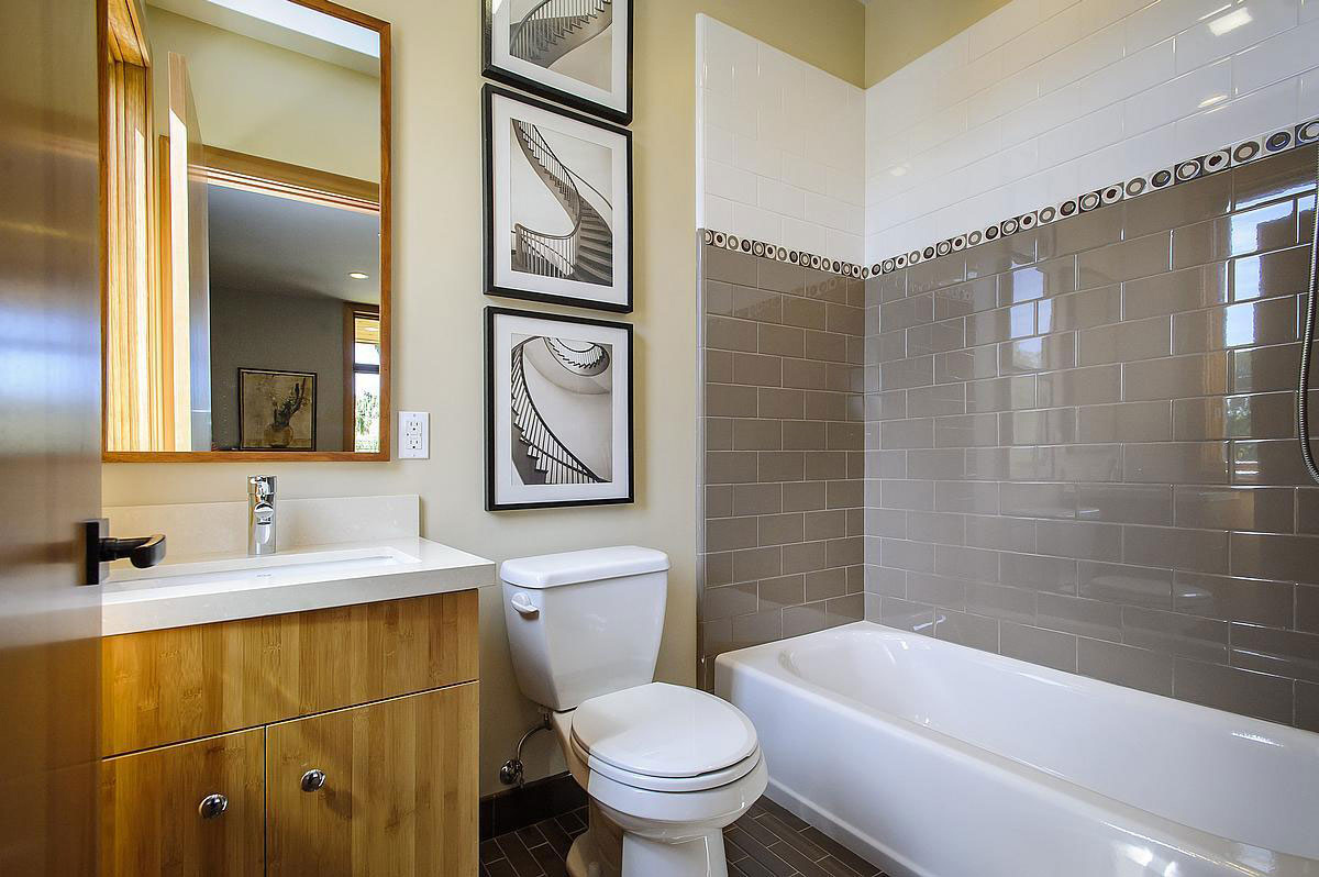 White Tiles, Bathroom, Modern Home in Burlingame, California