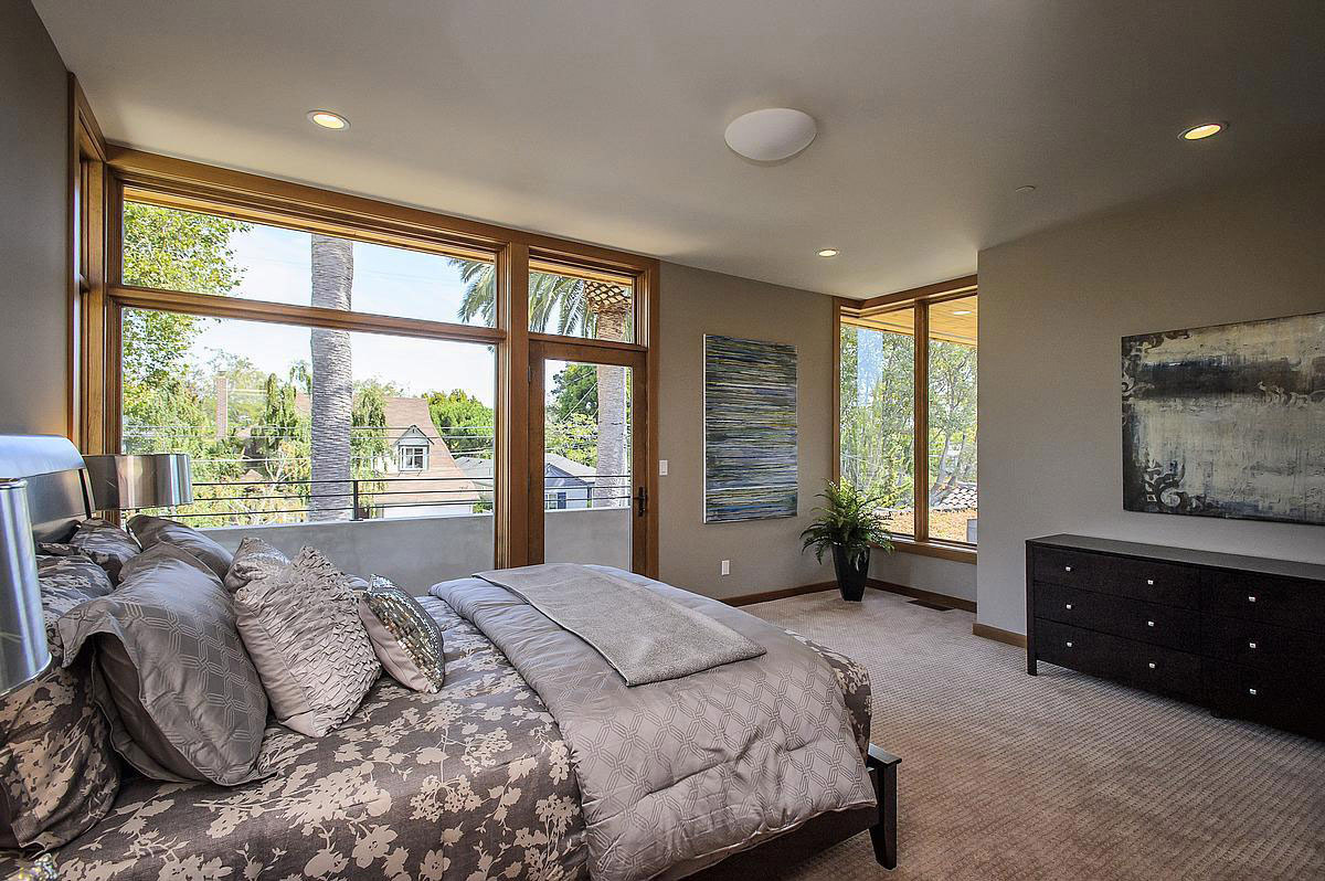 Large Window, Bedroom, Modern Home in Burlingame, California