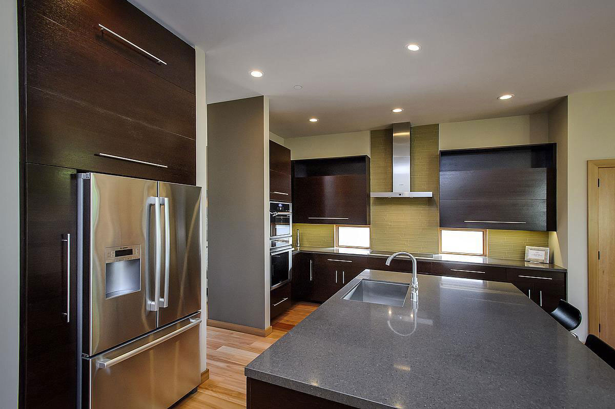 Dark Wood Kitchen, Modern Home in Burlingame, California