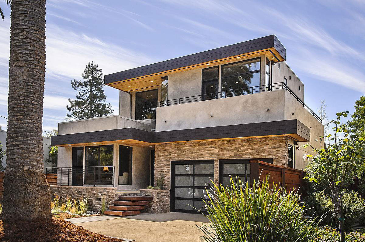 Garages, Entrance, Modern Home in Burlingame, California