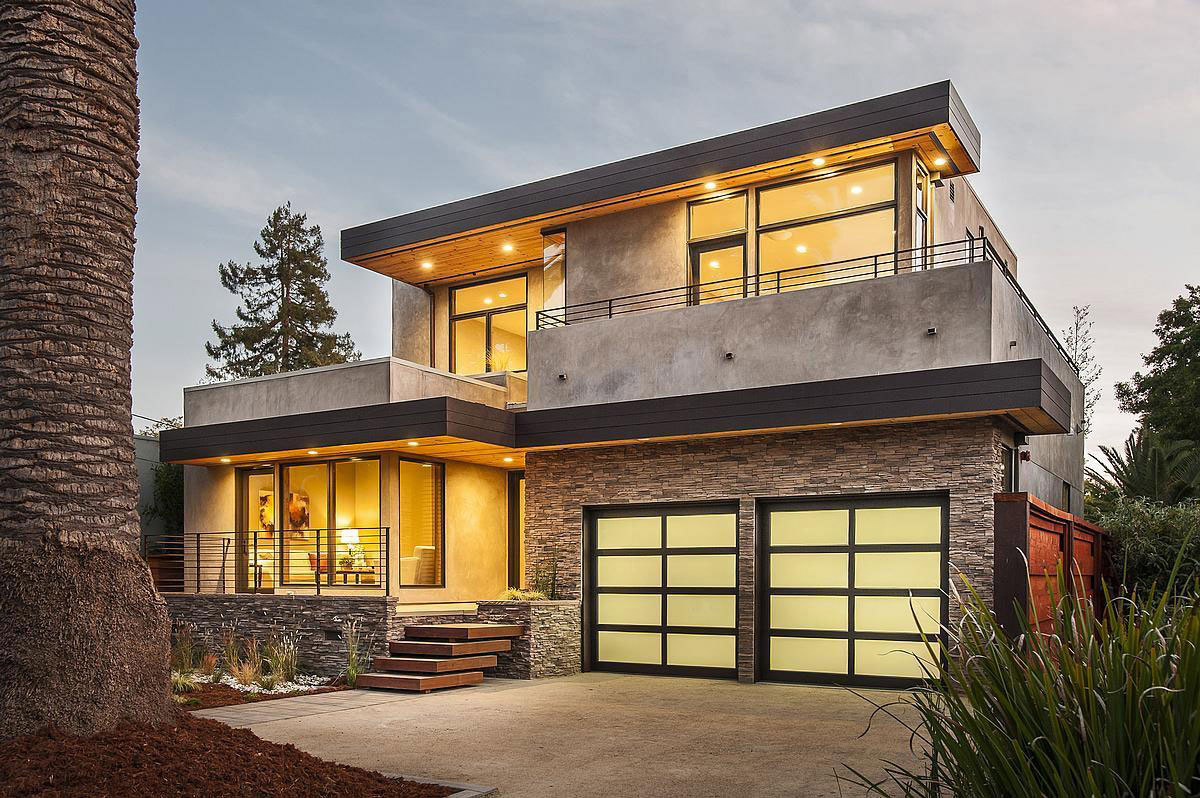 Garages, Modern Home in Burlingame, California