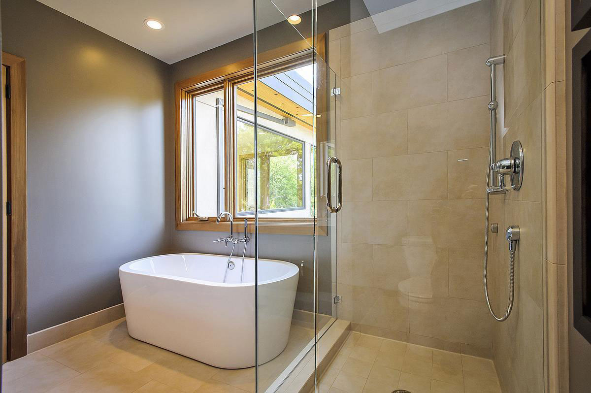 Glass Shower, Modern Bath, Modern Home in Burlingame, California