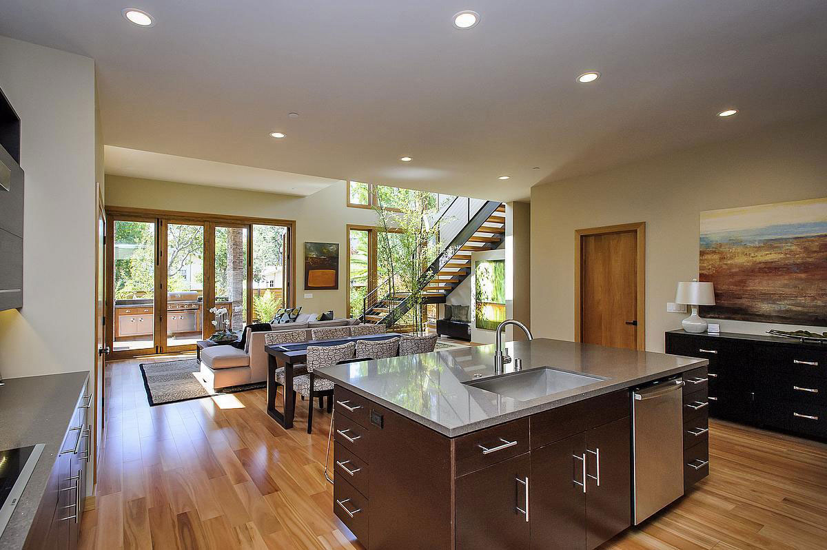Wooden Floors, Modern Home in Burlingame, California