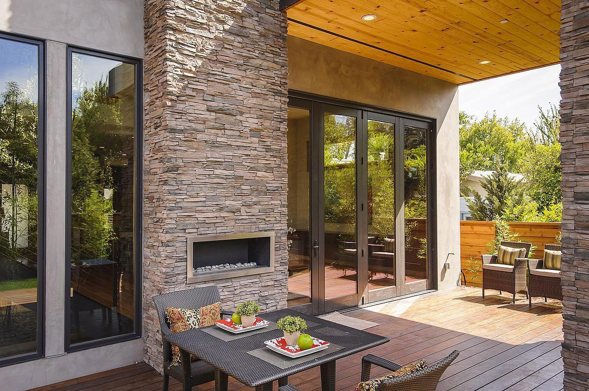 Modern Outdoor Fireplace, Modern Home in Burlingame, California