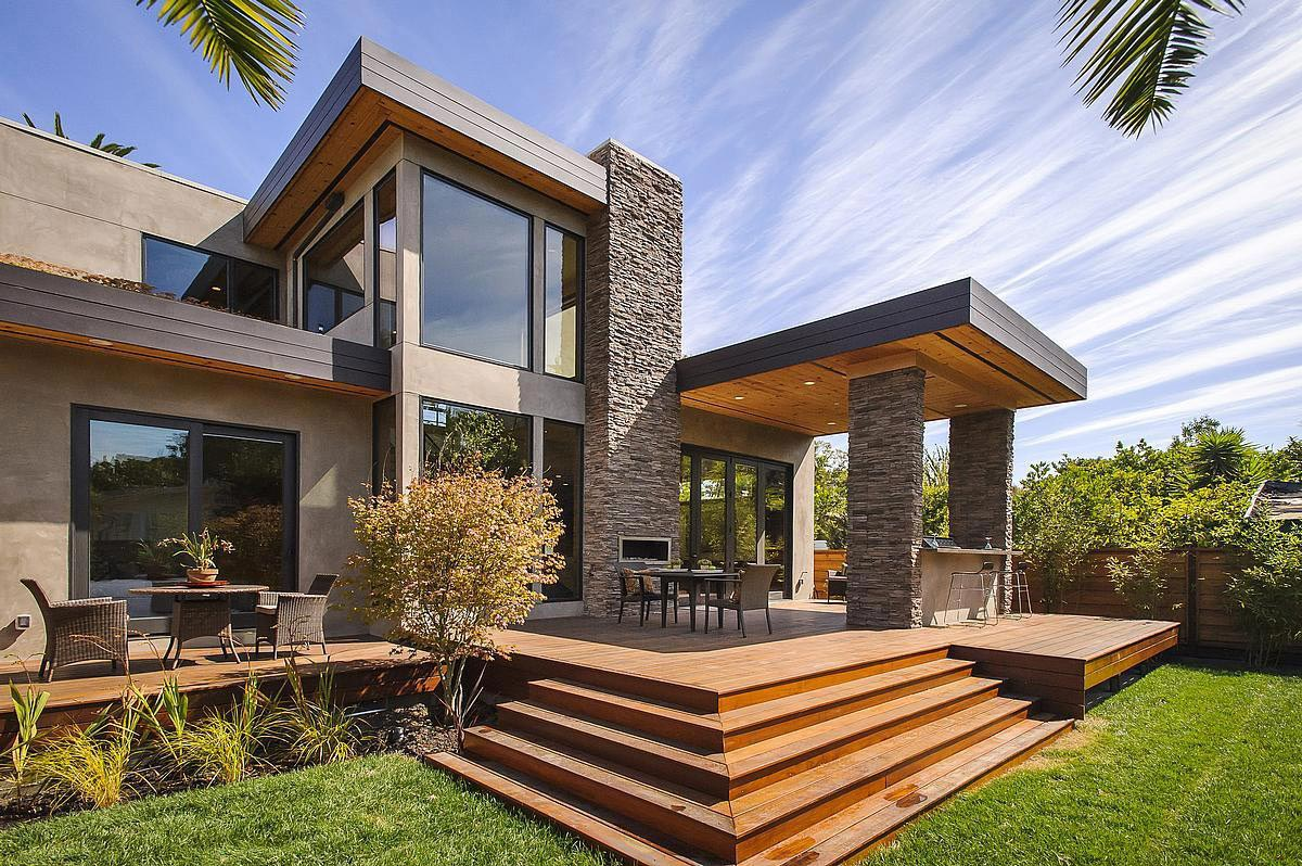 Outdoor Fireplace, Wooden Terrace, Modern Home in Burlingame, California