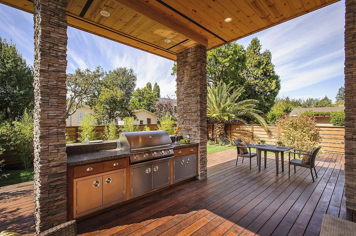 Kitchen, Terrace, Modern Home in Burlingame, California