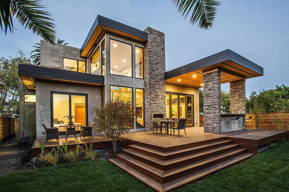 Rustic and modern home in burlingame california for Rustic contemporary home plans