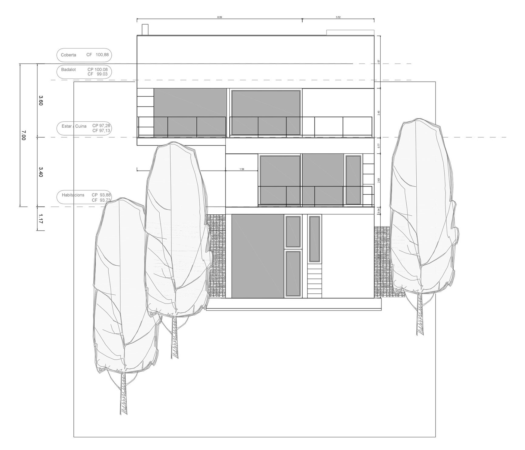 Diagram, Concrete Home in Sant Pol de Mar, Spain