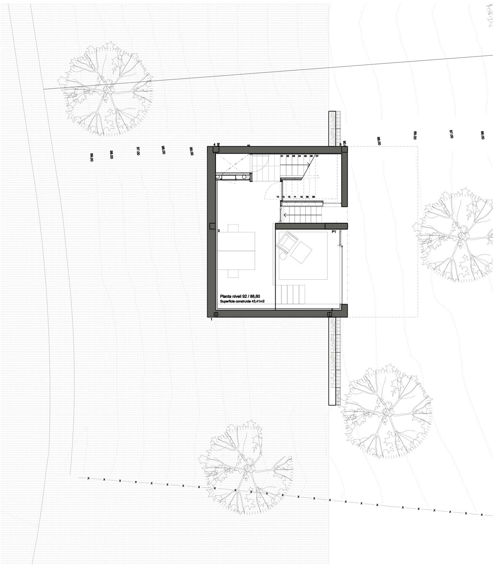 Floor Plan, Concrete Home in Sant Pol de Mar, Spain