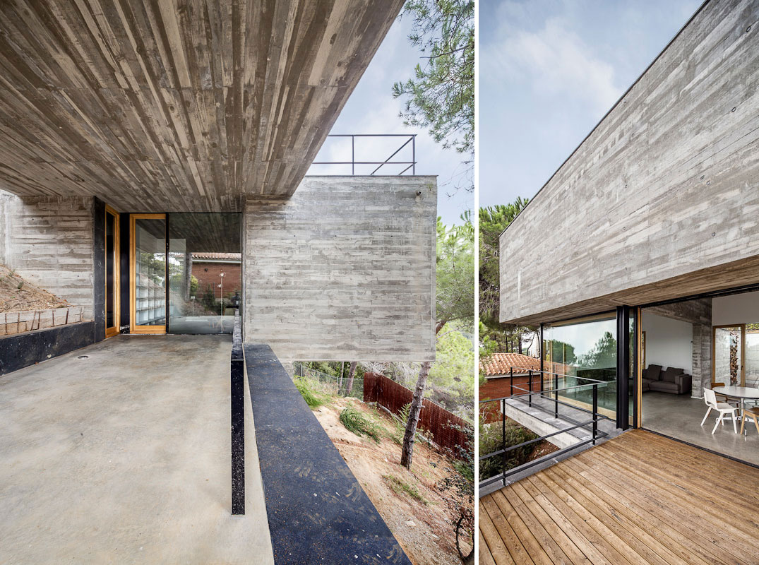 Glass Entrance, Wood Deck, Concrete Home in Sant Pol de Mar, Spain