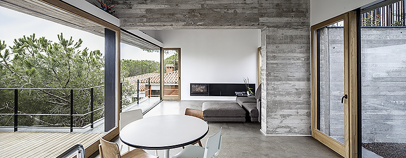 Glass Front Door, Concrete Home in Sant Pol de Mar, Spain
