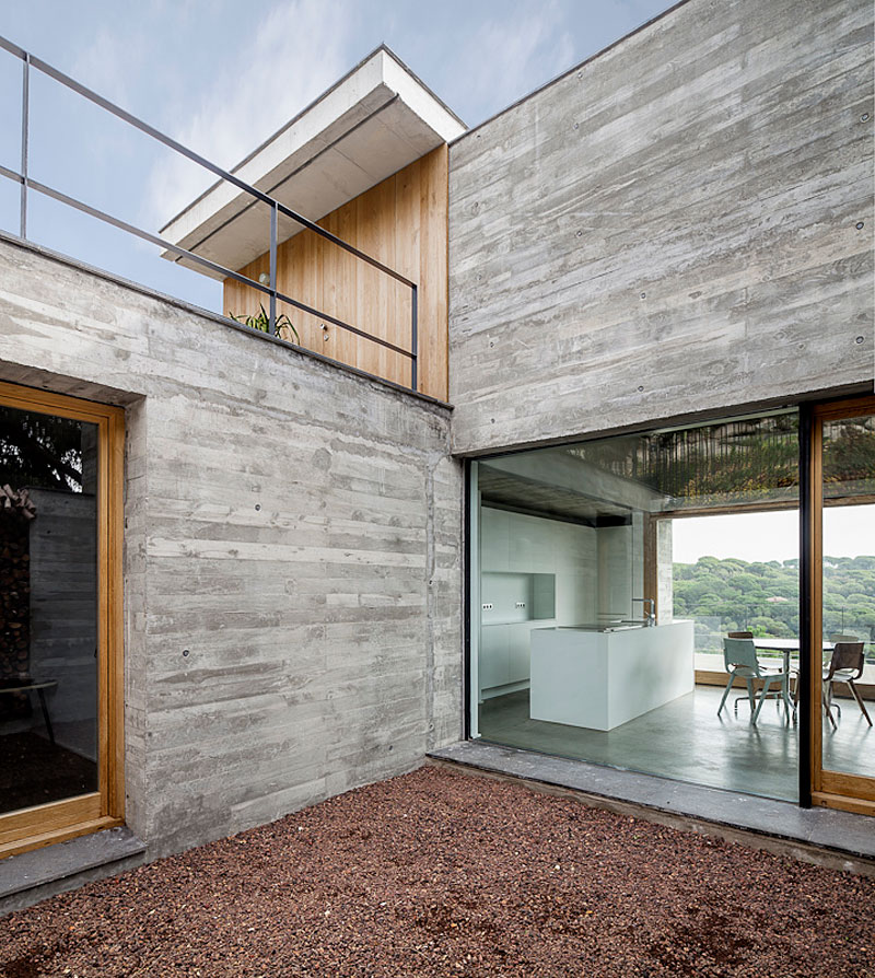 Glass Wall, Kitchen, Concrete Home in Sant Pol de Mar, Spain